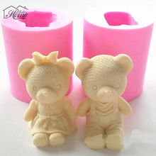 Cute Bear Boy Girl Silicone Mold Fondant Cake Decorating Tools Sugarcraft Chocolate Soap Mold Gum Paste Candle Moulds