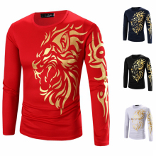 4XL Men's Tattoo Design Long Sleeve T Shirts Slim Casual Fit Tees Cool Men Tops Clothing