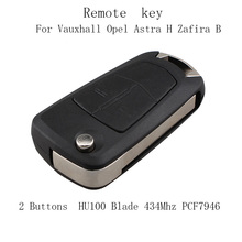 Remote Key 2 Buttons 433MHz PCF7946 for Vauxhall Opel Astra H Zafira B car key HU100 Blade(China)