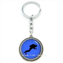 Fine diver sport series jewelry keychain blue navy patten related searches for diver art pendant key ring jewelry men gift T495