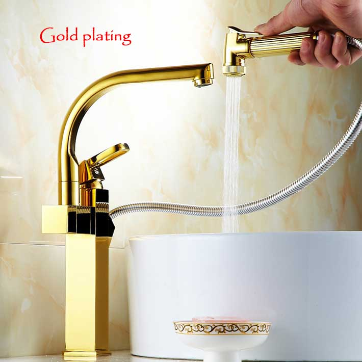 Contemporary high quality pull out  gold plating Swivel Single Handle Brushed  Kitchen Sink Faucet Spray Mixer Taps<br><br>Aliexpress