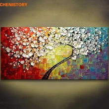 Unframed Panels Colorful Flower Tree Handpainted Oil Painting On Canvas Modern Picture Palette Knife Painting For Living Room