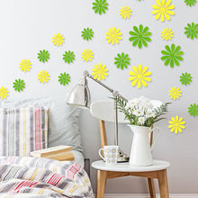 12Pcs Vinyl 3D Removable Decorative Silver Mirror Flowers Wall Stciker For Kids Room Christmas 3D Art Wall Decals Home Decor