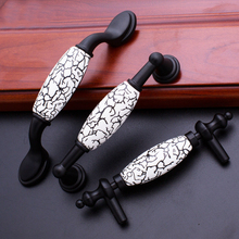 Matte Black Door Handles Country Style Crack Drawer Pulls Kitchen Cabinet Knobs and Handles Furniture Handles Fittings