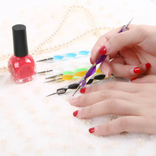 5pcs used on Natural nails 2 ways Nail Polish Art Dotting Marbleizing Pen Tools  # L014152