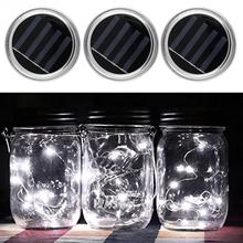 3 Set Solar Mason Jar Fairy Light With Color Changing Or Warm White LED for Glass Jars Party Decor Solar Mason Jar Lid Insert