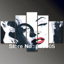 5 piece canvas wall art large Abstract  modern handmade marilyn monroe canvas art  wall  oil painting on canvas  for Bedroom