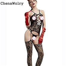 Buy ChenaWolry Lingerie Open Crotch Hollow Harnesses Tight Pajama Stocking Hot Sales Attractive Luxury New Fashion Design #UH4550