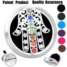 38mm Hamsa Chakra Car Diffuser Locket Magnet 316 Stainless Steel Car Aroma Locket Free Pads Essential Oil Car Diffuser Lockets(China)