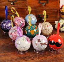Lovely creative vintage European style circular multicolor surprise eggs tin ball happiness card storage boxes 10pcs/lot