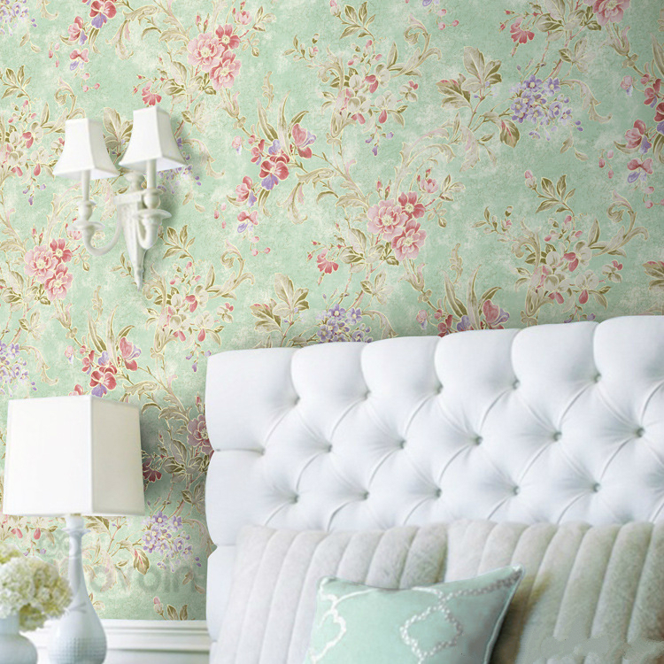 Classic Vintage Non Woven Spring Flowers Wallpaper On The Wall Floral Green Light Yellow Background For Hotel Shop<br><br>Aliexpress