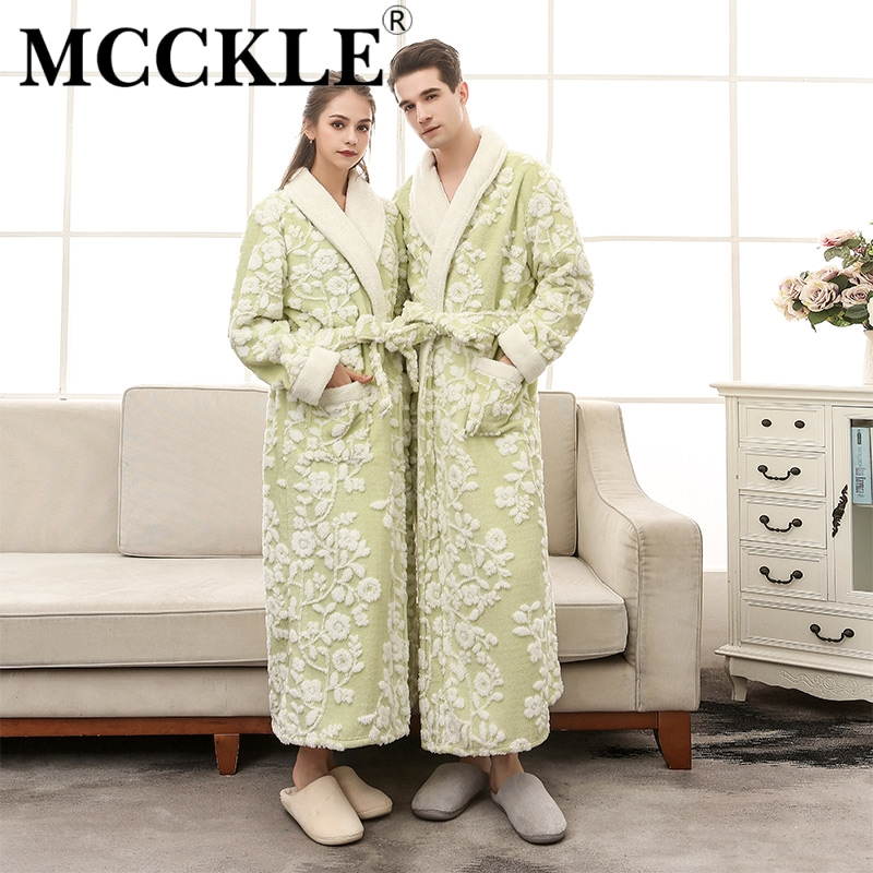 MCCKLE Lovers Coral Fleece Women Long Bathrobe 2018 Men Winter Soft Flannel Kimono Bath Robes Female Dressing Gown Men's Robes