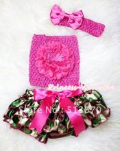Camouflage Patterns Layer Panties Bloomer with Hot Pink Peony Hot Pink Crochet Tube Top and Bow Headband 3PC Set MACT262
