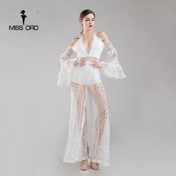 Missord 2017 Sexy Profunda V del hombro opacidad de encaje jumpsuit FT8163