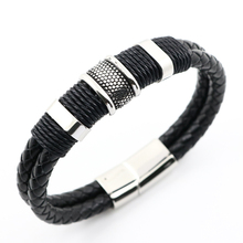 Punk Bangles For Men Black Leather And Mix Stainless Steel Men Bangles Plus Size 68mm(China)
