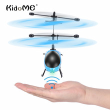 KidoME 2017 Mini Helicopter Intelligent Hand Infrared Suspension Induction WiFi 2 CH With Changing LED Light Kids Boys Toy Drone
