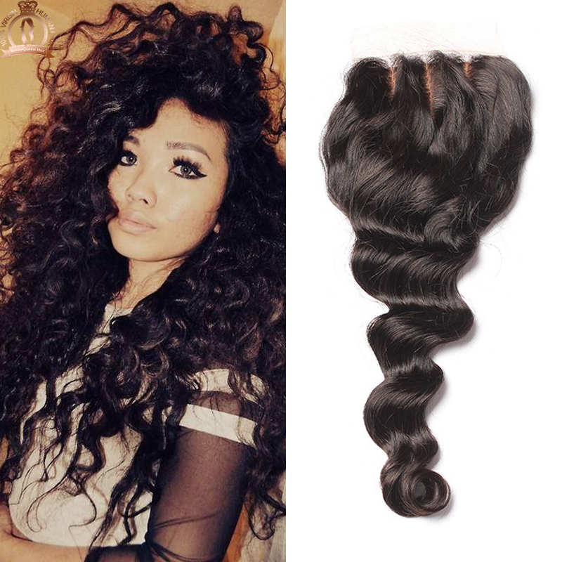 6A Peruvian Silk Base Closure Bleached Knots Free/Middle/3 Part 4x4 Loose Wave Silk Base Closure Sunny Queen Hair Products<br><br>Aliexpress