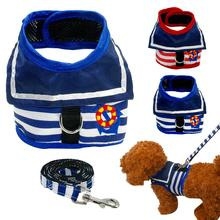 Retro Navy  Solider Style Dog Spring Harness Mesh Summer Dog Clothes Teddy Poddle Pet Apparel S M L Sizes