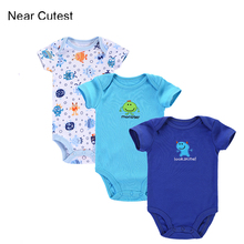 Near Cutest 3pcs/lot Baby Romper Newborn Clothing Short Sleeve Cotton Baby Boy Girl Clothes Infants Wear Baby Clothing ropa bebe