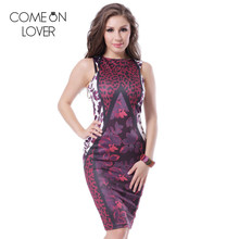RE70110 Comeonlover Top selling sleeveless print bodycon office dress fashion lady formal dresses knee-length sexy summer dress