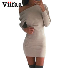 Buy Viifaa 2017 Sexy One Shoulder Dress Women Casual Batwing Sleeve Dress Autumn Winter Long Sleeve Bodycon Sexy Dresses for $8.99 in AliExpress store