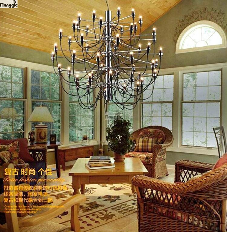 Modern home decoration lamps 18 / 30 / 50 gold colour Gino sarfatti designed chandelier living room dining room light free free(China (Mainland))