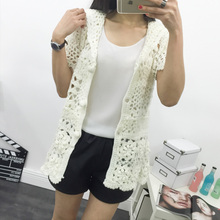 Fashion Hooded Solid White Hand Knitted Cardigan Sweater Hollow Out Floral Print Short Butterfly Sleeve Single Breasted Coat
