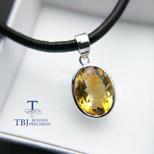 TBJ ,Big Oval cut 11 carat citrine ov12*16 pendants,Simple and valuable  design,Big natural gemstone pendants with cord