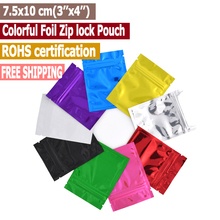 100 pcs 7.5x10 cm (3''x4'') Free Sipping Colorful Top Feed Foil Zip lock Bags Food Pouches,Mylar Aluminum Foil Bags,Tea Pouches