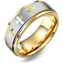 USA Canada Russia Brazil Hot Sales 8MM Golden Multi Cross Tungsten Carbide Wedding Ring USsize 6-13 - E&C Super Fashion Jewelry Store (-ratail store)