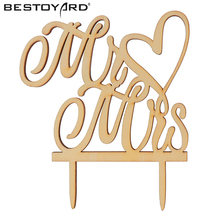 """Mr and Mrs"" Antic Rustic Wedding Cake Topper Laser Cut Wood letters Wedding Cake Decorations Favors Supplies Engagement Gifts(China)"
