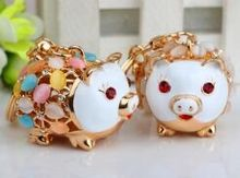 Fashion Accessories Rhinestone Opal pig  Key Chains free shipping