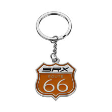 Car-Styling Metal SRX ROUTE 66 Car Logo emblem Keychain Key Ring For Cadillac SRX CTS XTS ATS CT6 ESCALADE Auto Car Accessories