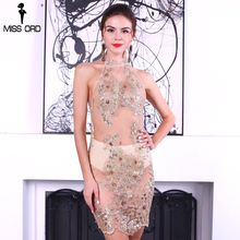 Missord 2017 Sexy high neck  sleeveless backless see through lace mini  dress FT8153