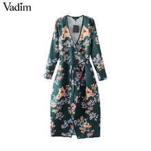 Vadim women vintage cross V neck floral dress sweet bow tie long sleeve ladies casual mid calf dresses vestidos mujer QZ3224(China)