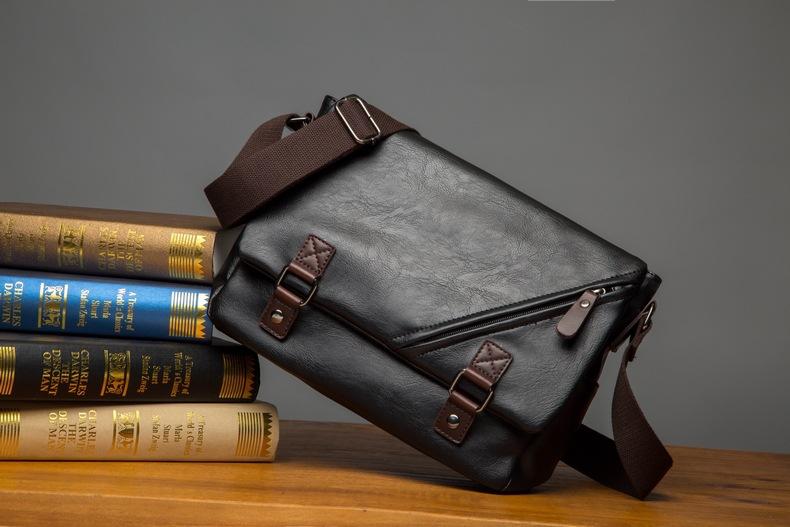 MJ Men\`s Bags Vintage PU Leather Male Messenger Bag High Quality Leather Crossbody Flap Bag Versatile Shoulder Handbag for Men (12)