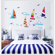 colorful cartoon Sailboat blue birds ocean home decal wall sticker for kids room decor nursery washroom decoration wallposter
