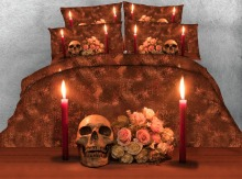 Royal Linen Source 4 Parts Per Set Bed Sheet Set Hot selling Day of the Dead Roses and Skull 3d bed set