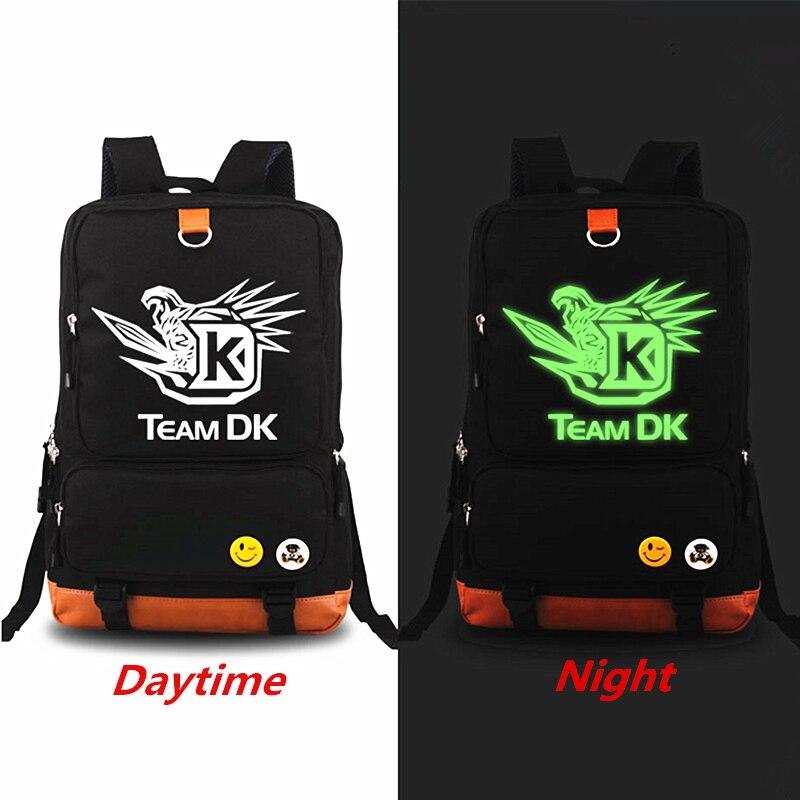 New DOTA 2 Luminous Printing Backpack TEAM dk DK Backpacks teenagers Men Womens Student School Bags Shoulder Bag Laptop Bags<br>