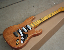 Factory Custom Natural Wood Color Electric Guitar with SSS Pickups,Acrylic Pickguard,Scalloped Neck,Offer Customized