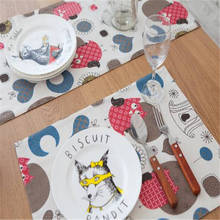 Wholesale Owl pattern meal mat Japanese minimalist placemat creative personality style striped cotton napkin