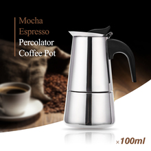 Stainless Steel Moka Coffee Maker Mocha Espresso Latte Stovetop Filter Coffee Pot 100ML 200ML 300ML 400ML Percolator Tools Pots(China)