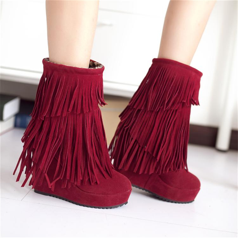 2017 autumn &amp; winter womens fashion Tassel ankle boots platform wedges high-heeled cotton shoes Free shipping<br><br>Aliexpress