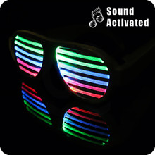 Fashion Trend Voice Activate Led Flash Glasses Sound Sensitive Light Up Glasses DJ Bright Glasses Christmas Dance Party Gifts