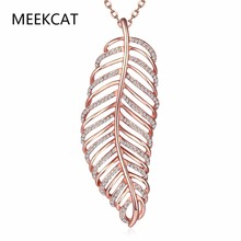 MEEKCAT New Fashion Zircon Paved Leaf Pendant Necklace Antic Rose gold Color 2.3CMX6.3CM leaf Choker Jewellery Collier Femme(China)
