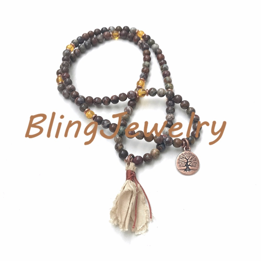 N17082544 Stretch Mala Beads, Brown & Green African Opal Mala Beads Mala To Wrap Around WristSari Silk Tassel (1)_