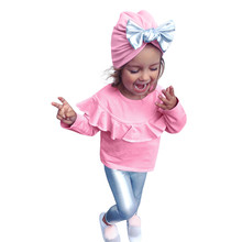 3pcs Toddler Infant Baby Girl Bow Clothing Set solid O-Collar long sleeve Top+Pant+Hat Outfit kid costume winter new year suit