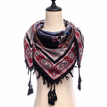 2018 new women scarf vintage ethnic shawl wrap geometric floral print pashmina top quality cotton square scarves winter scarf(China)