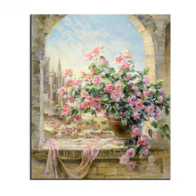 No Frame Frameless Window Flowers Scene DIY Painting By Numbers Kits paintings for living room wall Coloring Painting