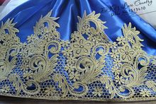 Free shipping 5Yards/lot Victorian Antique Gold Embroidery Lace Trim in Metallic Gold for Bridal,Wedding Gown, Costume design